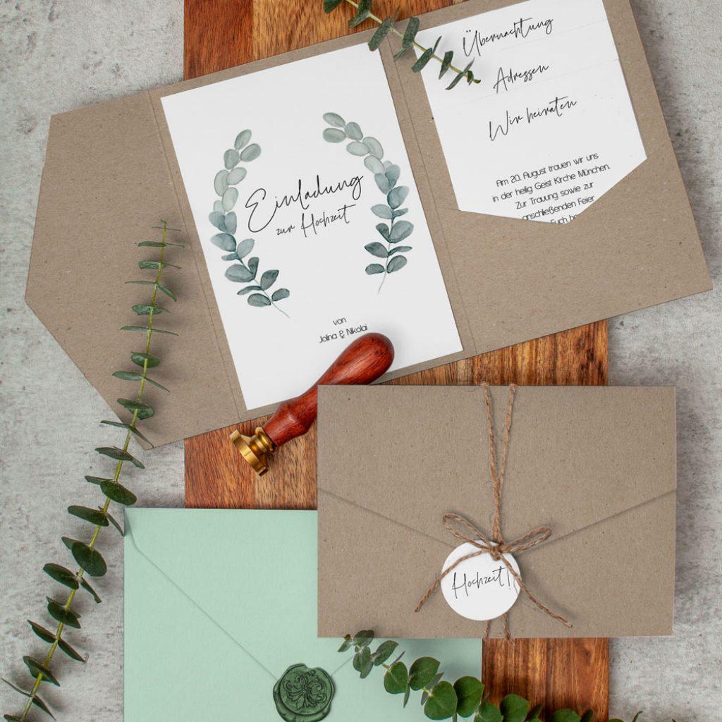Nachhaltige Einladung Hochzet Greenery