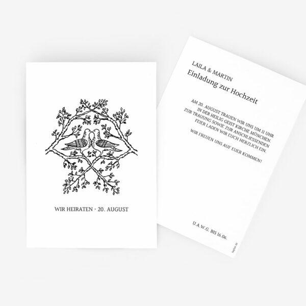"""Nachhaltige Hochzeitseinladung """"Tauben"""""""
