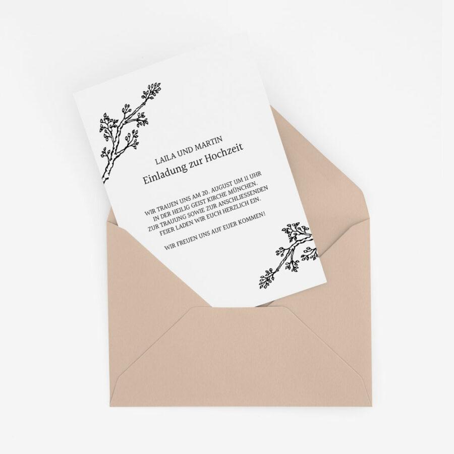 """Nachhaltige Hochzeitseinladung """"Twigs"""""""