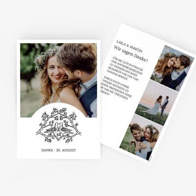 """Nachhaltige Dankeskarte Hochzeit """"Tauben"""""""