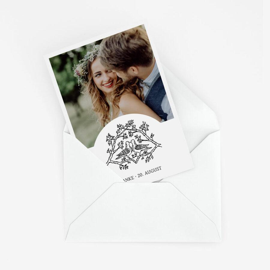 """Dankeskarte Hochzeit """"Tauben"""" 1"""