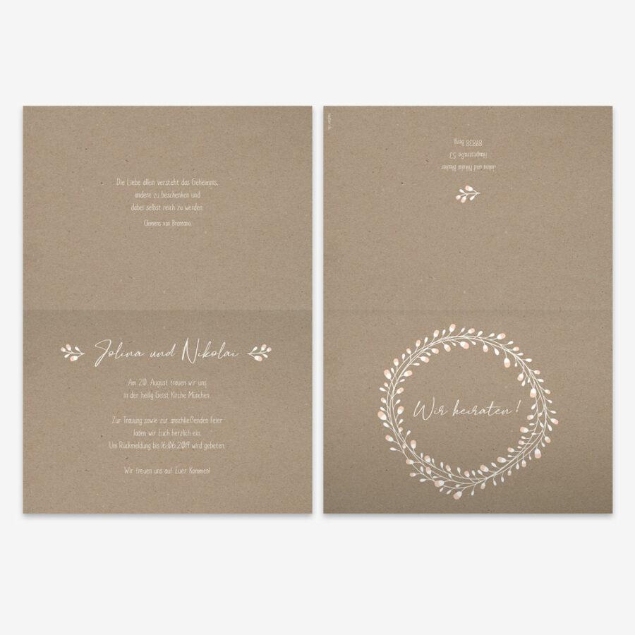 """Nachhaltige Hochzeitseinladung """"Floral Craft"""""""