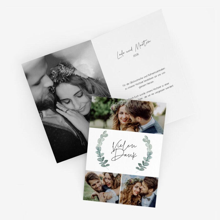 "Nachhaltige Dankeskarte Hochzeit ""Eukalyptus"""