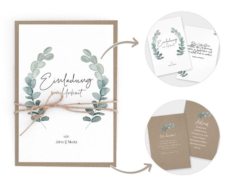 Muster Hochzeitseinladung Eukalyptus