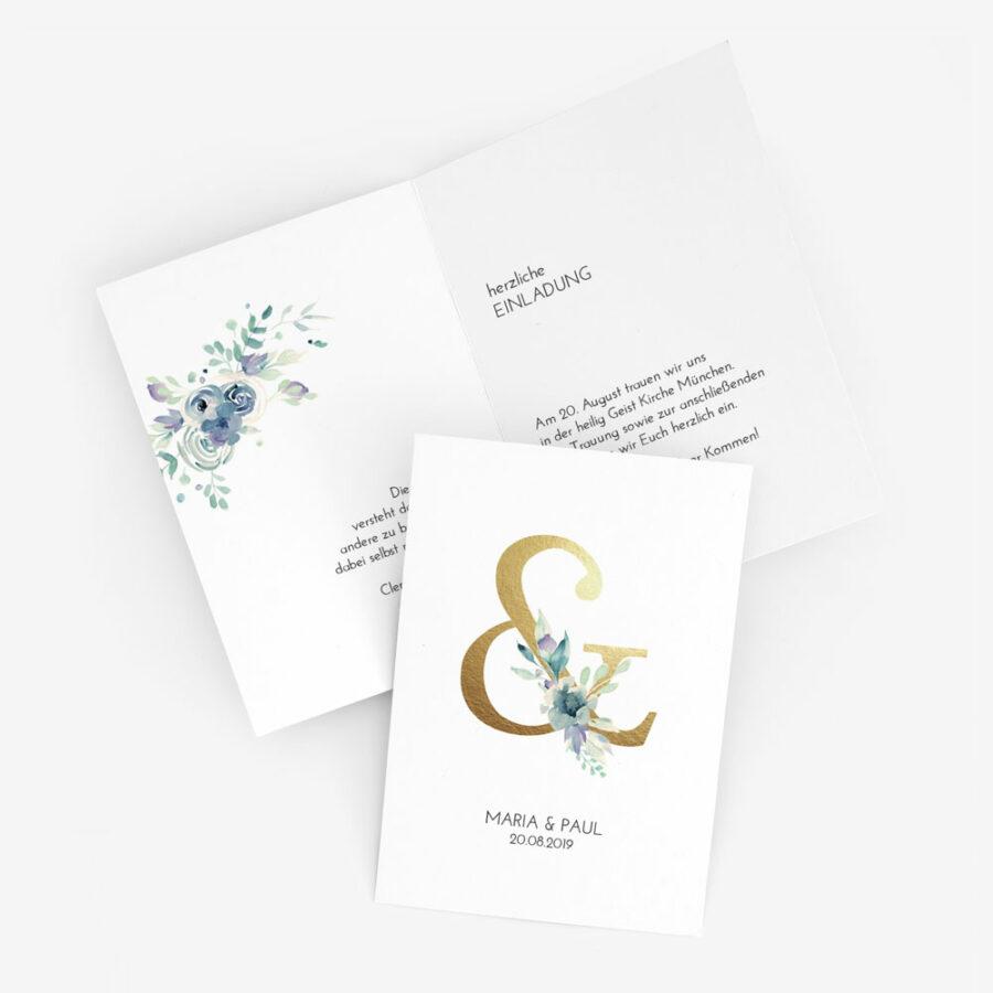 """Nachhaltige Hochzeitseinladung """"Golden Ampersand"""""""