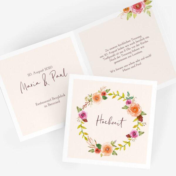 """Nachhaltige Hochzeitseinladung """"Blumenkranz"""""""