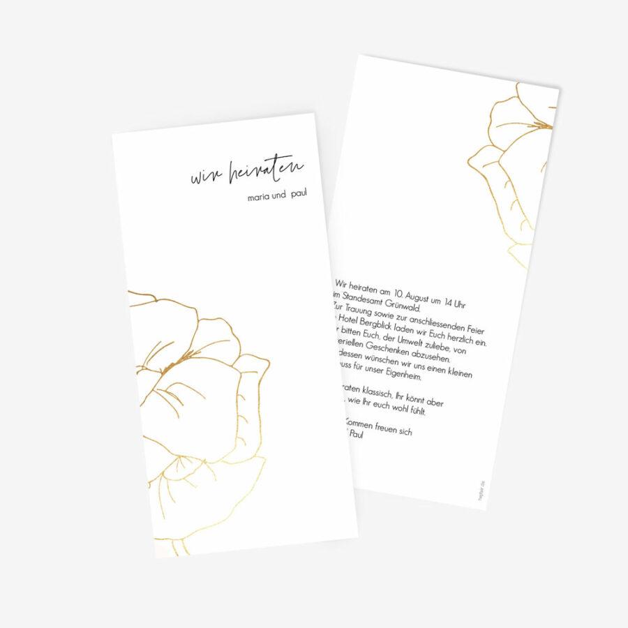 """Nachhaltige Hochzeitseinladung """"Flower in gold"""""""