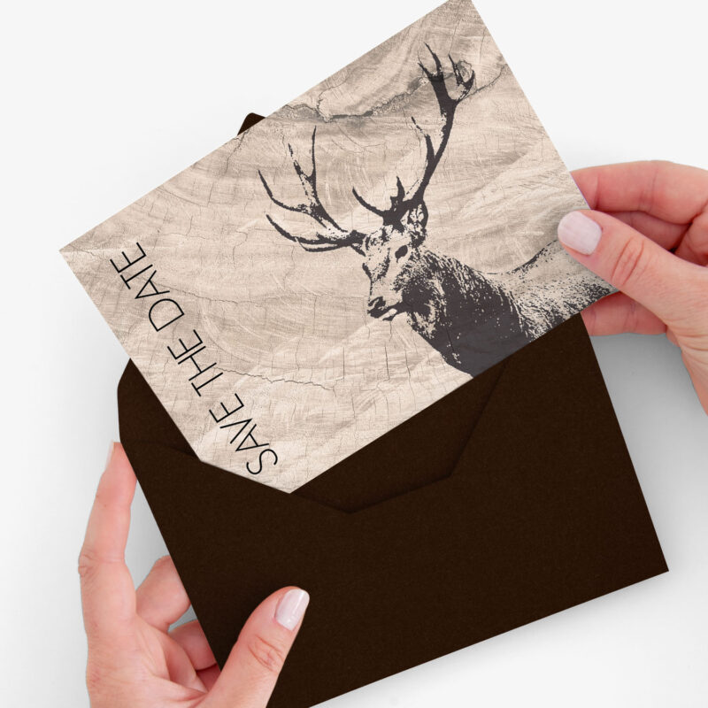 Nachhaltige Save the Date Karte Hirsch