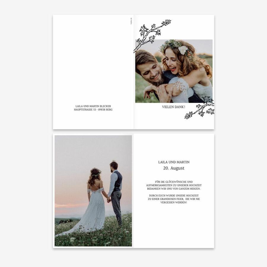 """Nachhaltige Dankeskarte Hochzeit """"Twigs"""""""