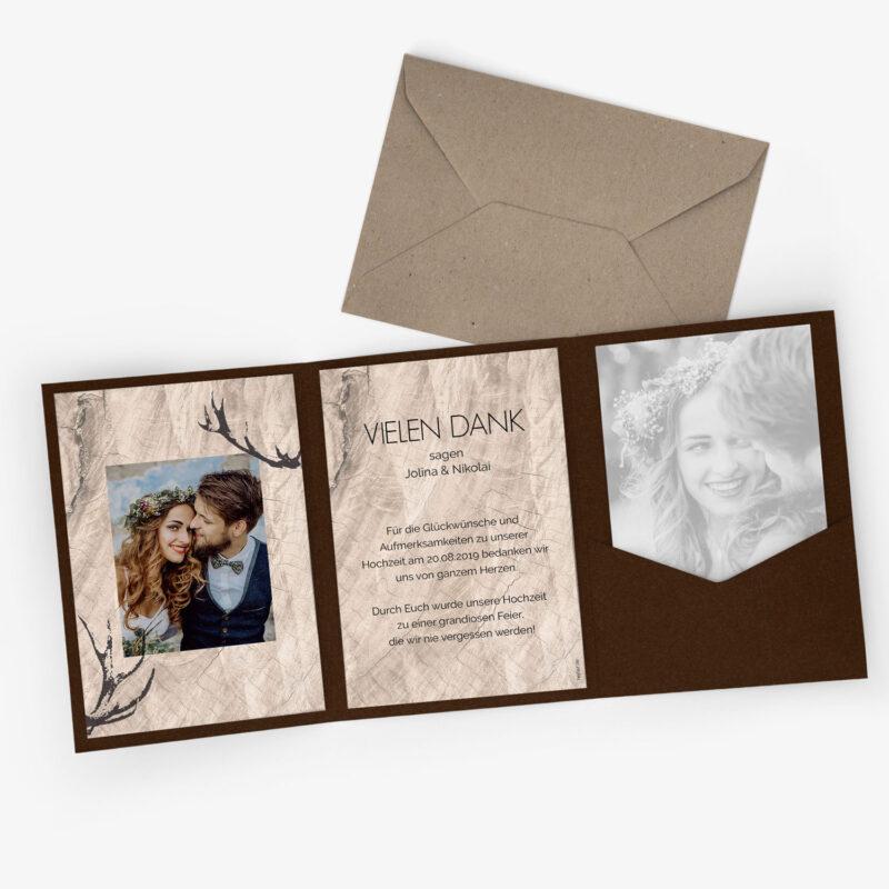 Nachhaltige Dankeskarte zur Hochzeit Hirsch