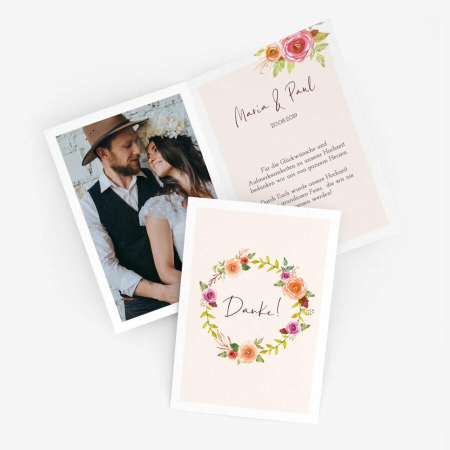 """Dankeskarte Hochzeit """"Blumenkranz"""""""