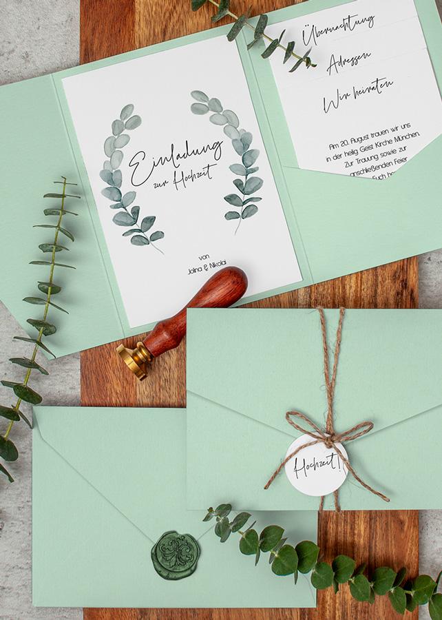 Pocketfold Hochzeitseinladung Eukalyptus