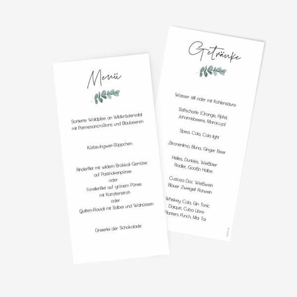 """Nachhaltige Menükarte zur Hochzeit """"Eukalyptus"""""""