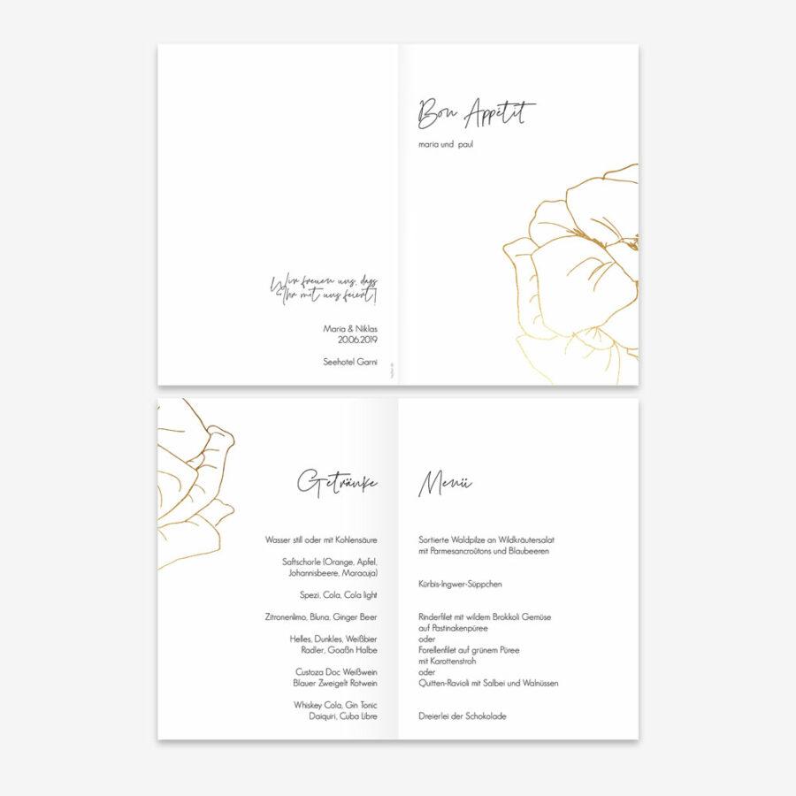 """Nachhaltige Menükarte zur Hochzeit """"Flower in gold"""""""