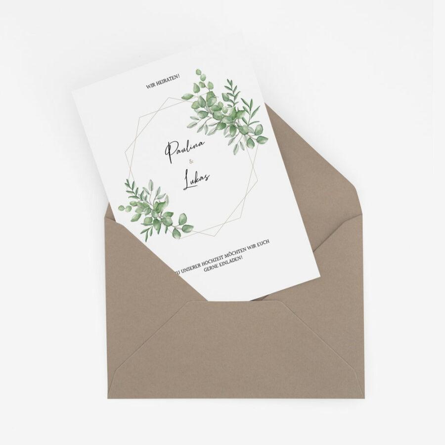 Nachhaltige Hochzeitseinladung Greenery