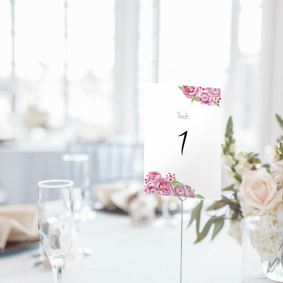 """Nachhaltige Tischnummer """"Paeonia"""""""
