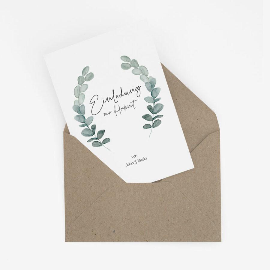 """Nachhaltige Hochzeitseinladung """"Eukalyptus"""""""