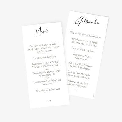 """Nachhaltige Menükarte zur Hochzeit """"wir heiraten"""""""