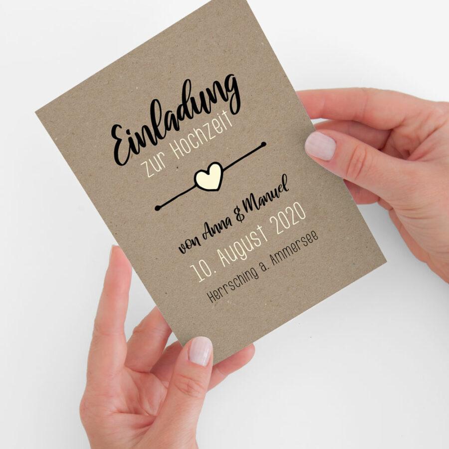 """Nachhaltige Hochzeitseinladung """"Rustic Craft"""""""