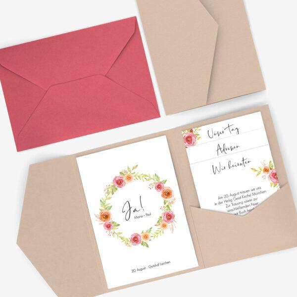 """Nachhaltige Pocketfold Hochzeitseinladung im """"Bloomy"""" Design"""