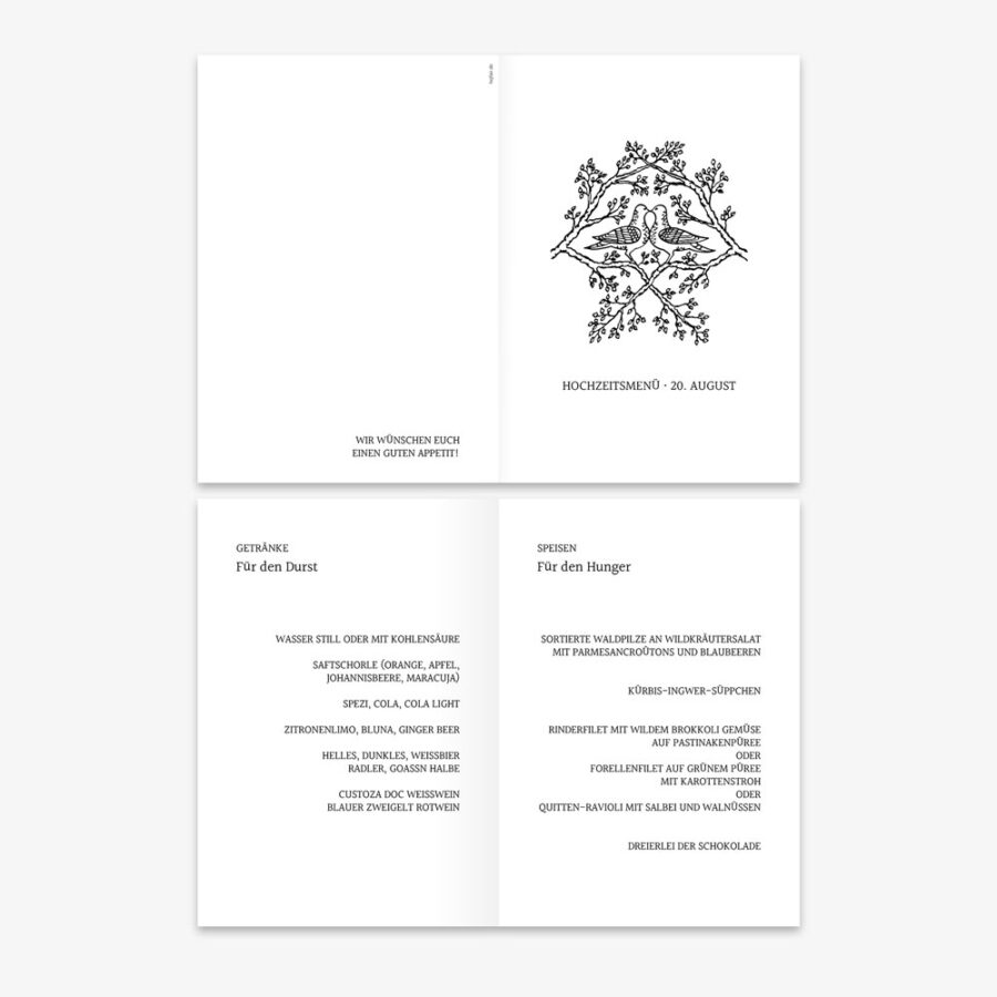 """Nachhaltige Menükarte zur Hochzeit """"Tauben"""""""