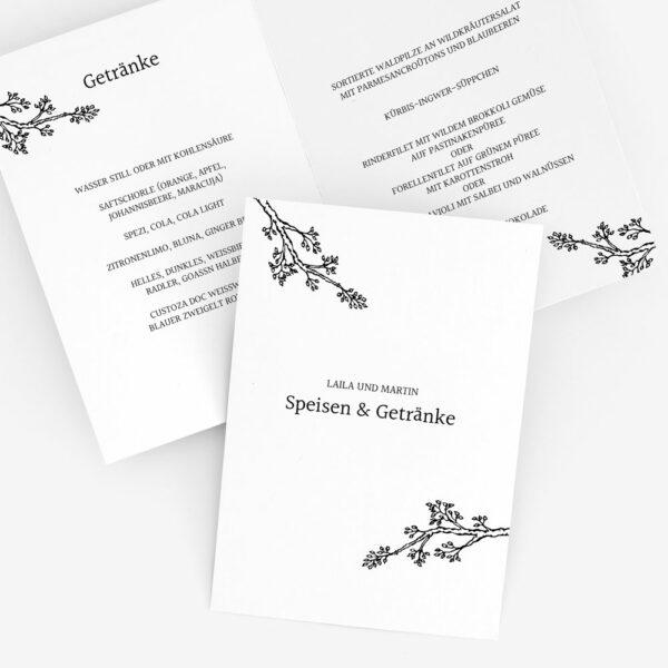 """Nachhaltige Menükarte zur Hochzeit """"Twigs"""""""