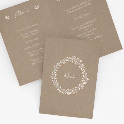 """Nachhaltige Menükarte zur Hochzeit """"Floral Craft"""""""