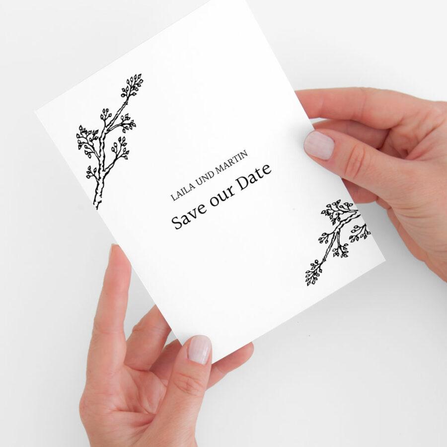 "Nachhaltige Save-the-Date Karte ""Twigs"""
