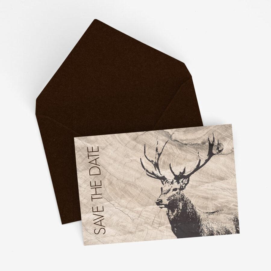 """Nachhaltige Save-the-Date Karte """"Hirsch"""""""