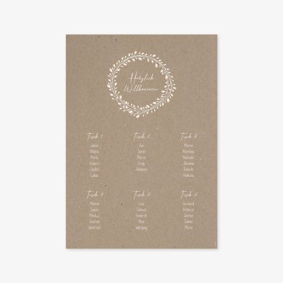 """Nachhaltiger Sitzplan """"Floral Craft"""""""