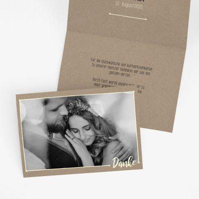 "Dankeskarte Hochzeit ""Rustic Craft"""