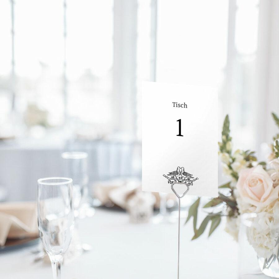 """Nachhaltige Tischnummer zur Hochzeit """"Tauben"""""""