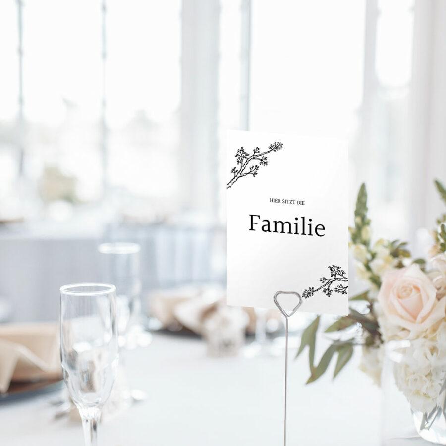 """Nachhaltige Tischnummer zur Hochzeit """"Twigs"""""""