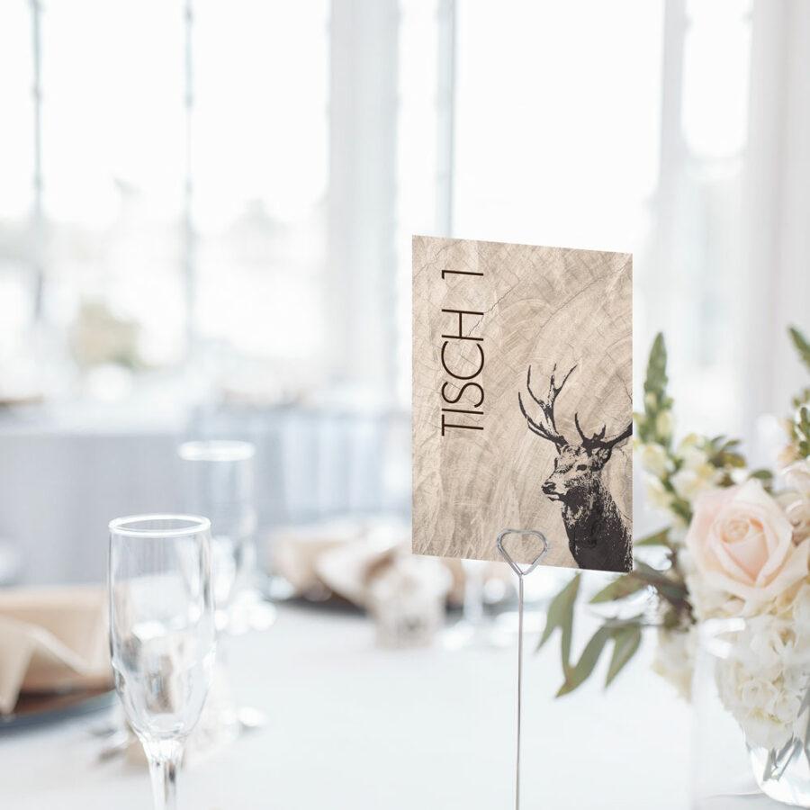 """Nachhaltige Tischnummer zur Hochzeit """"Hirsch"""""""
