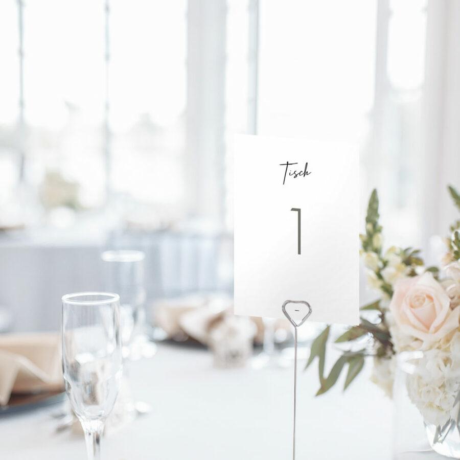 """Nachhaltige Tischnummer zur Hochzeit """"wir heiraten"""""""