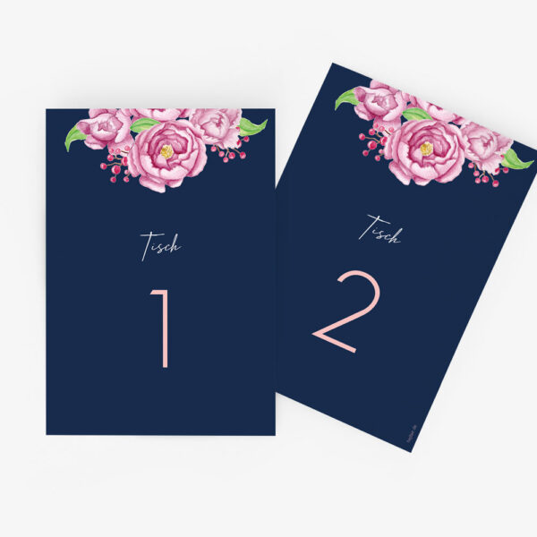 """Nachhaltige Tischnummer zur Hochzeit """"Midnight Garden"""""""