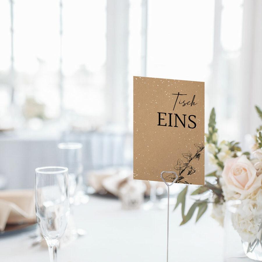 """Nachhaltige Tischnummer zur Hochzeit """"Winterhochzeit"""""""