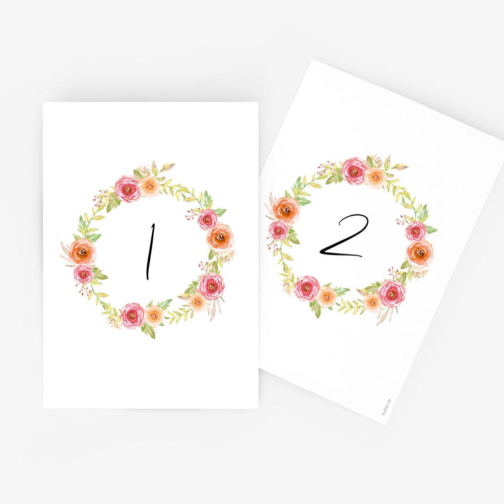 """Nachhaltige Tischnummer zur Hochzeit """"Bloomy"""""""