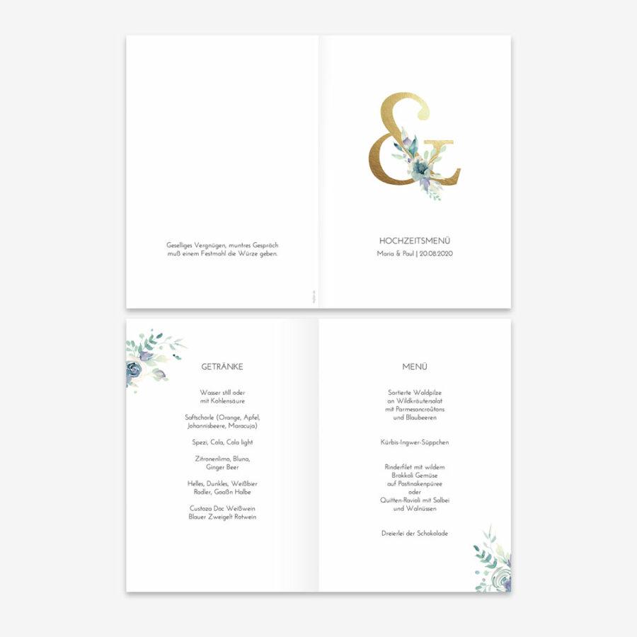 """Nachhaltige Menükarte zur Hochzeit """"Golden Ampersand"""""""