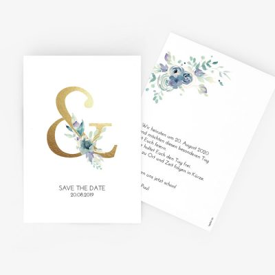 "Nachhaltige Save-the-Date Karte ""Golden Ampersand"""