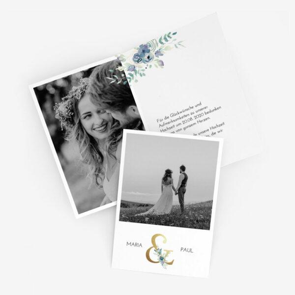 """Nachhaltige Dankeskarte Hochzeit """"Golden Ampersand"""""""