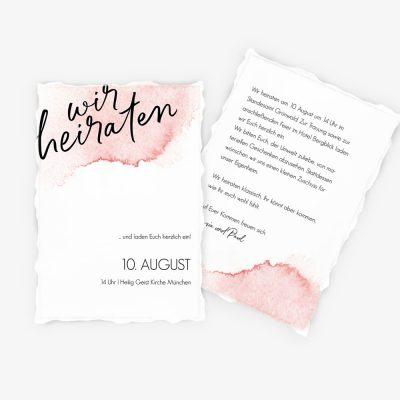 """Nachhaltige Hochzeitseinladung """"Watercolor Typo"""""""