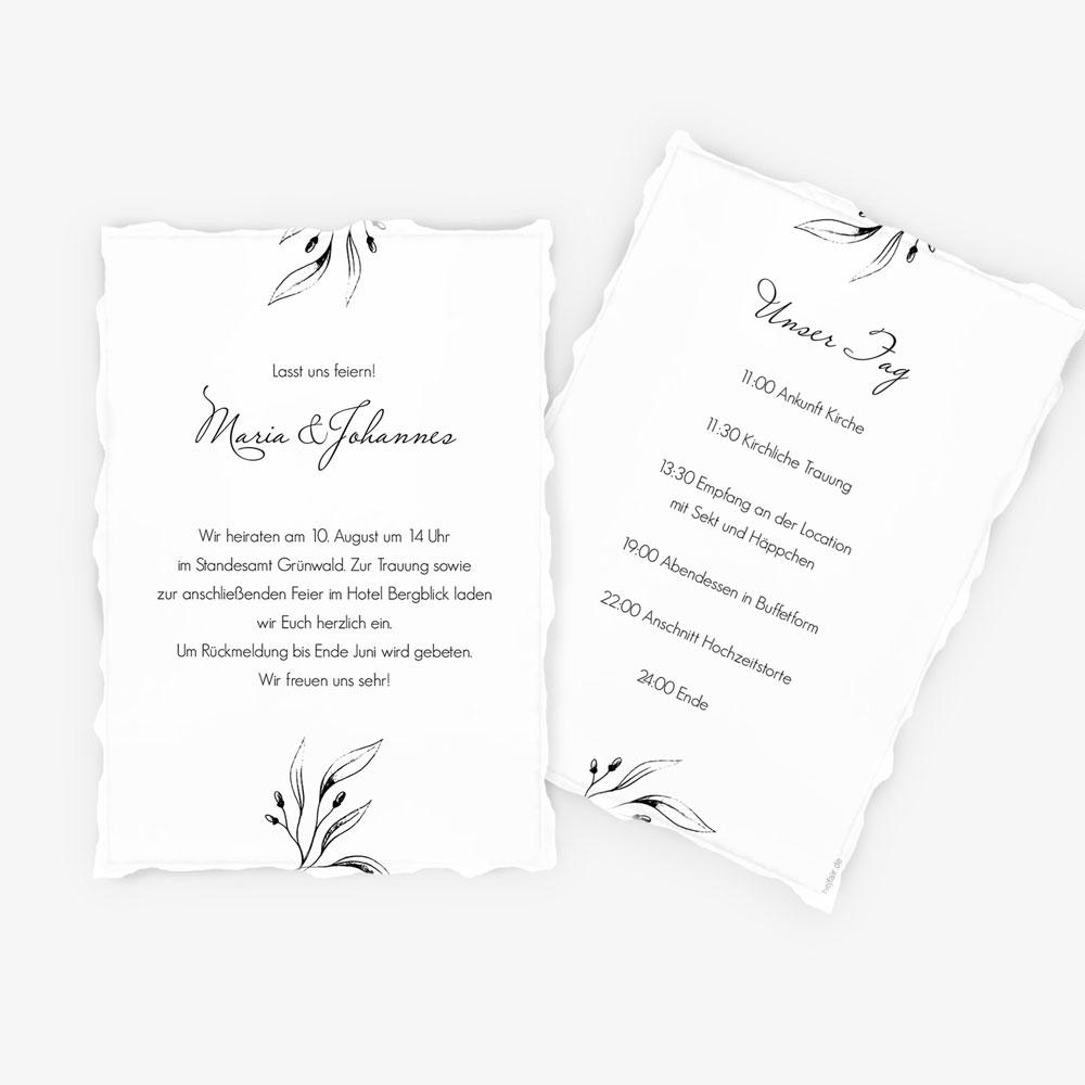 """Nachhaltige Hochzeitseinladung """"Kalligrafie"""""""