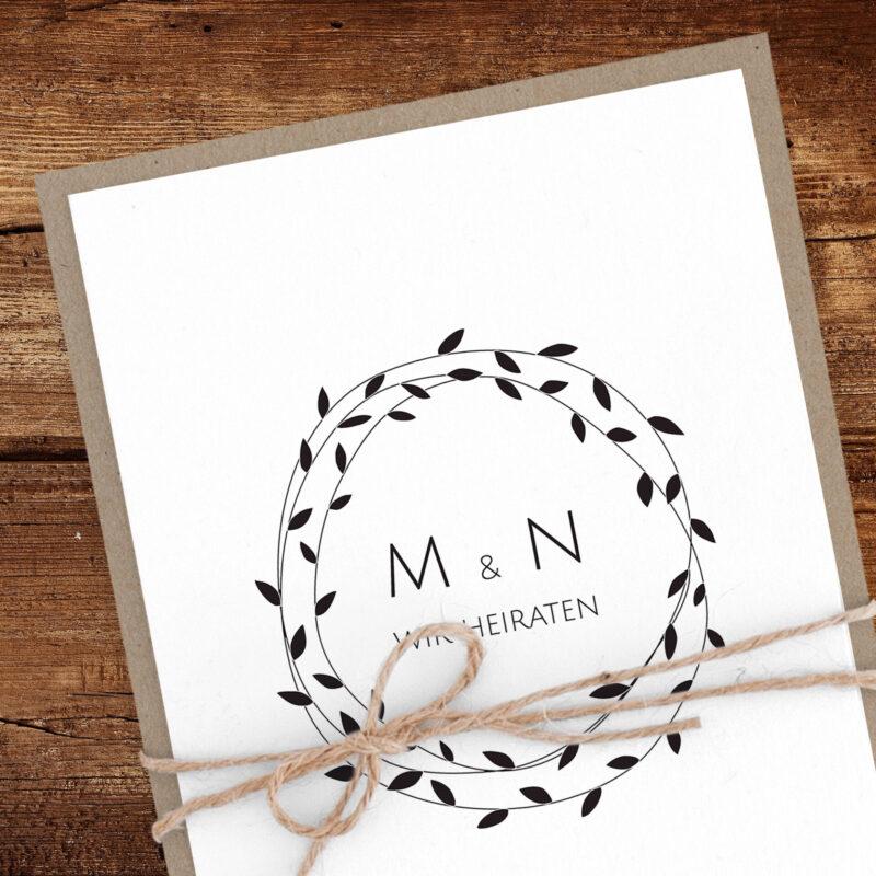 Modern-schlichte Hochzeitseinladung