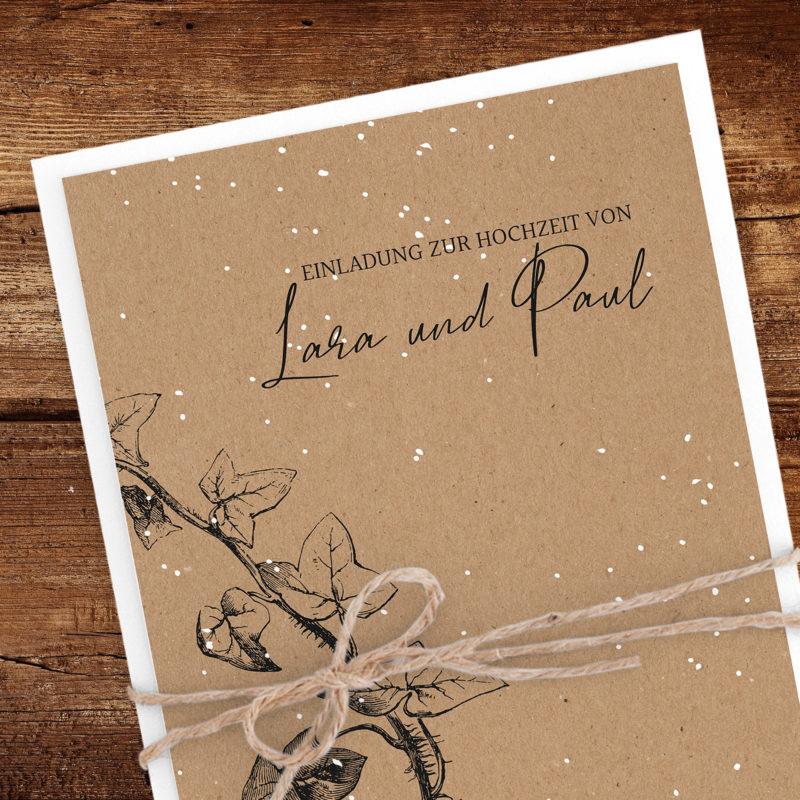 Einladung Winterhochzeit Kraftpapier