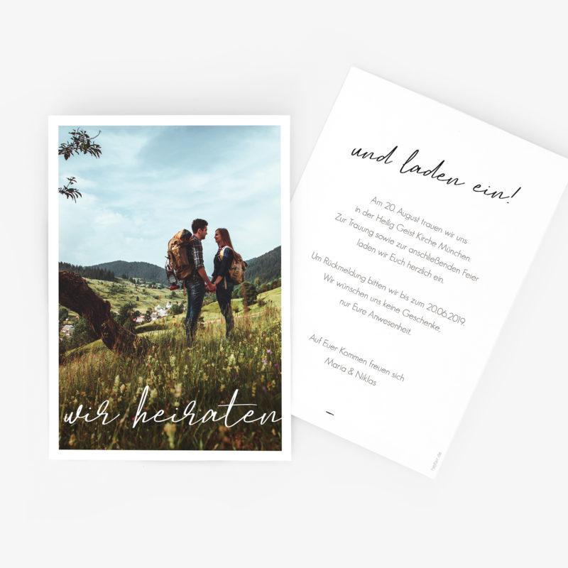 Klassisch-moderne Hochzeitseinladung mit Foto