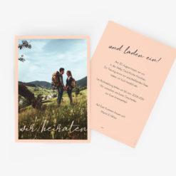 Klassisch-Moderne Hochzeitseinladung mit Foto in Rose