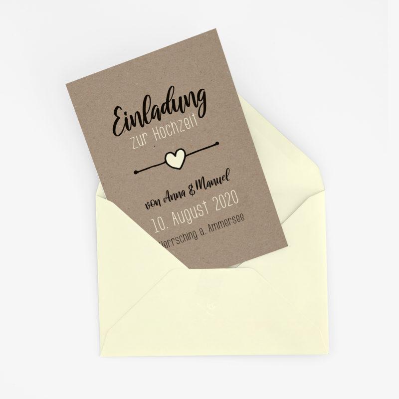 rustikale Hochzeitseinladung in Kraftpapier - Optik