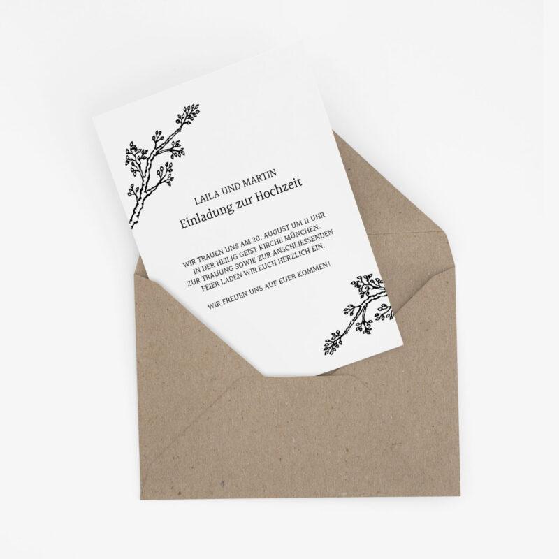 Nachhaltige Hochzeitseinladung im klassischen Design