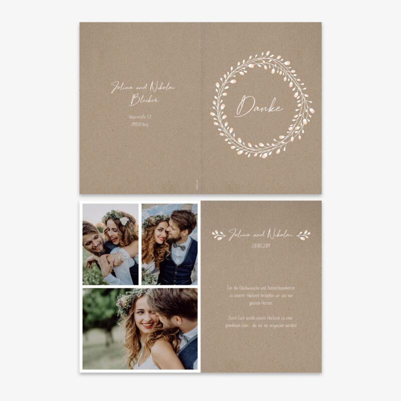 Nachhaltige Dankeskarte zur Hochzeit im Floral Craft